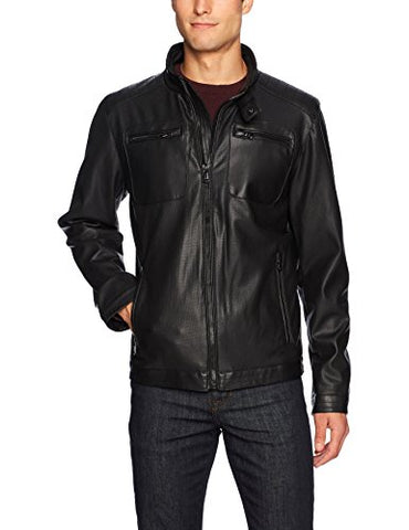 Buffalo by David Bitton Men's Perforated Faux Leather Jacket, Black, XL