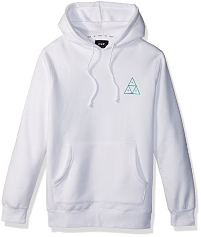 HUF Men's Triple Triangle Pullover Hood, White, S