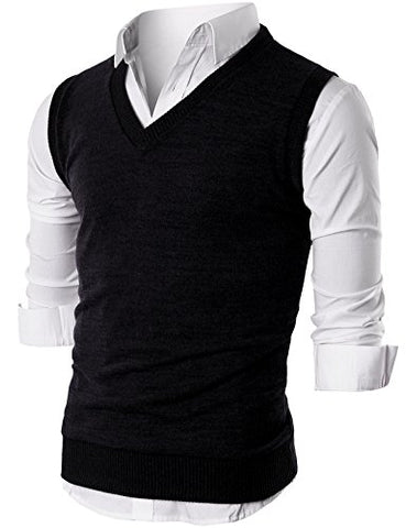 Ohoo Mens Slim Fit Casual V-Neck Knit Vest/DCV010-BLACK-XL