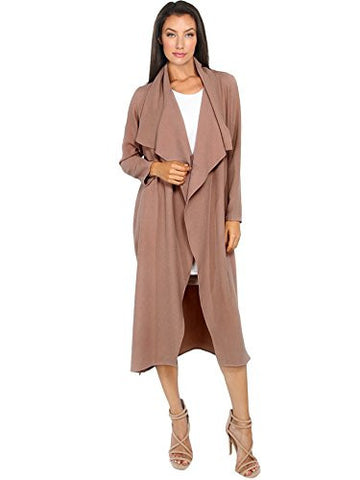 Verdusa Women's Casual Long Sleeve Lapel Outwear Trench Coat Cardigan Coffee M