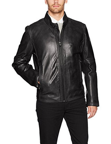 Marc New York by Andrew Marc Men's Emerson Light Weight Moto Jacket, Black, Large