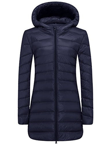 WenVen Women's Ultra Light Jacket Puffer Down Coats(Navy, US L)