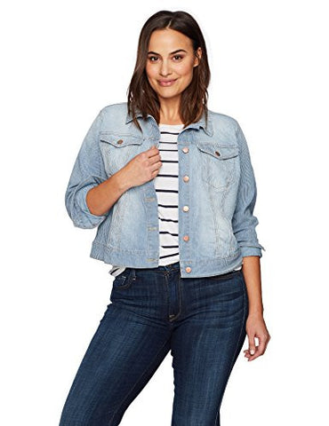 Jessica Simpson Women's Superloved Pixie Crop Jean Jacket, Railroad/Bryce, Small