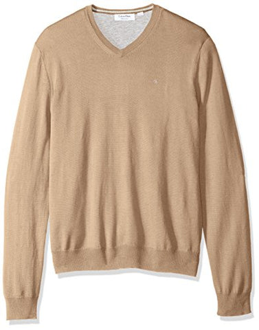 Calvin Klein Men's Merino Solid V-Neck Sweater, Travertine Tan, X-Large
