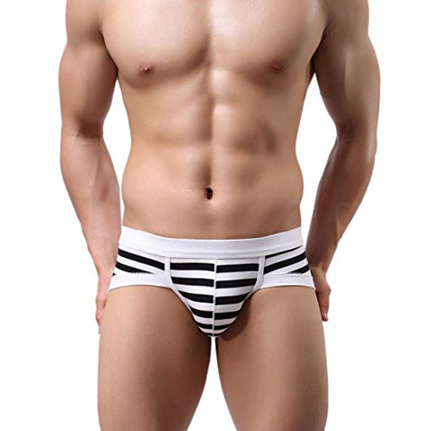 Voberry® Men's Sexy Stripe Boxer Briefs Cotton Underwear shorts Soft Underpants (M, A)