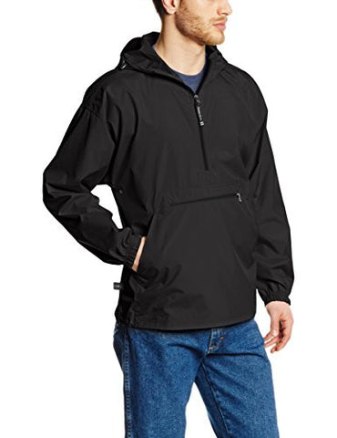 Charles River Apparel Men's Pack-N-Go Windbreaker Pullover, Black, 3X-Large