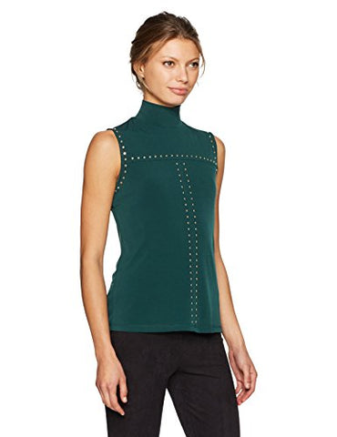 Calvin Klein Women's Sleeveless Mock Neck Top with Studs, Malachite, XL