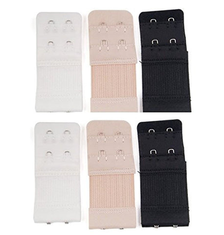 6pcs Women Ladies Soft Comfortable Back Bra 2x 2 Hooks Band Extension Strap Extender, white/black/nude