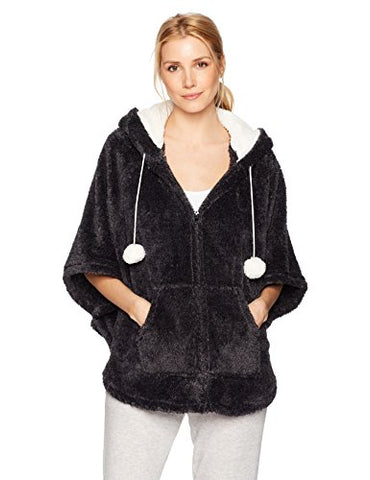 Kensie Women's Fuzzy Hooded Poncho, Black, S/M