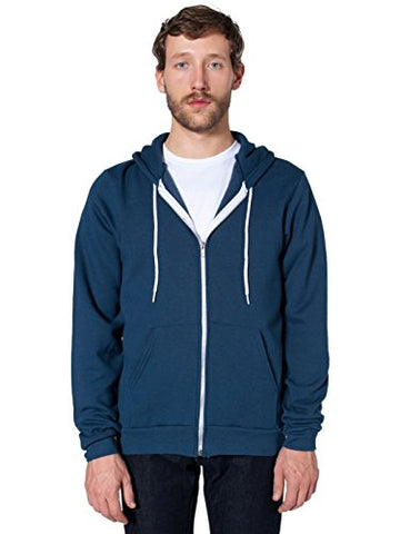 American Apparel Men Flex Fleece Zip Hoodie Size XS Sea Blue