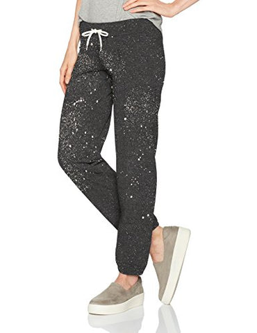 Monrow Women's Vintage Sweats W/ Splatter Tie Dye, Black, S