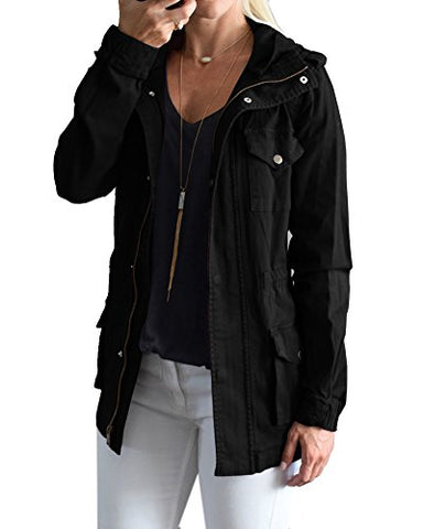 YOMISOY Fall Anorak Street Fashion Hoodies Active Lightweight Zip Up Women Safari Jacket (XX-Large, Black)