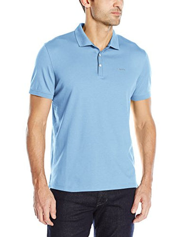 Calvin Klein Men's Liquid Cotton Polo, Little Boy Blue, Large