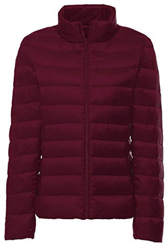 Wantdo Stand Collar Outwear Packable Ultra Light Weight Down Coat(Wine Red, US X-Small)