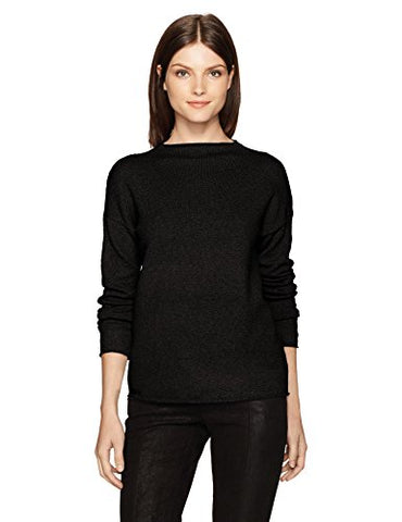 Kensie Women's Acrylic Knit Mockneck Sweater, Black, S