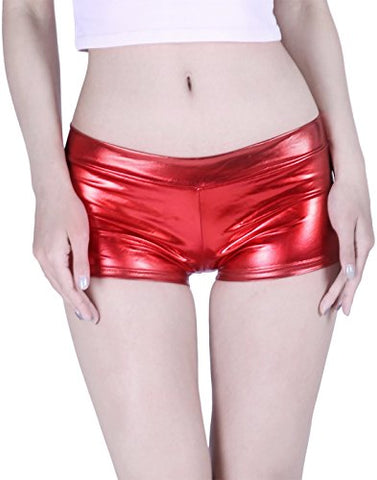 HDE Women's Shiny Metallic Booty Shorts Liquid Wet Look Hot Pants Dance Bottoms,Red,Small