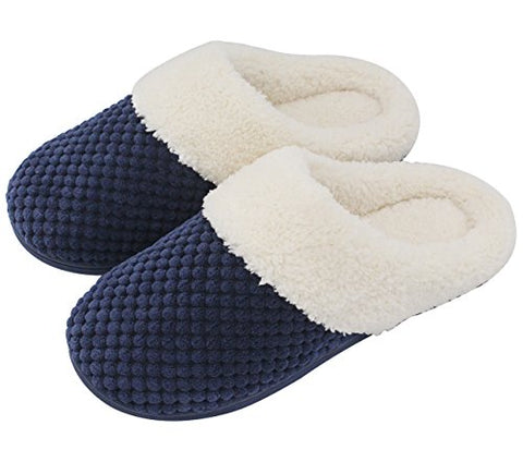 UltraIdeas Women's Soft Gridding Coral Velvet Short Plush Lining Slip-on Memory Foam Clog Indoor Slippers (Small / 5-6 B(M) US, Navy Blue)