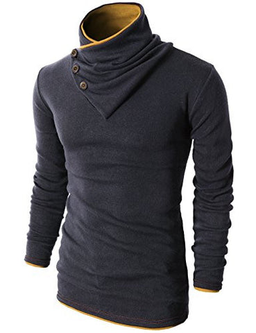 H2H Mens Fashion Turtleneck Slim Fit Pullover Sweater Oblique Line Bottom Edge CHARCOAL US XL/Asia 2XL (KMTTL040)