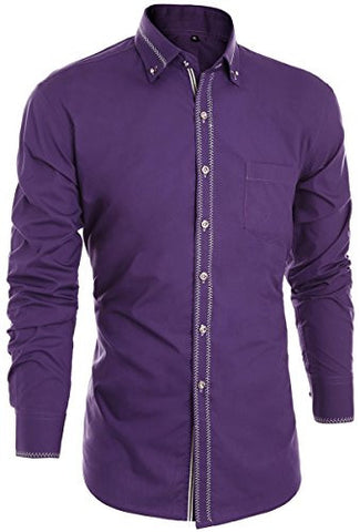 Men's Basic Dress Shirts Button Down Long Sleeve Western Tuxedo Shirt Slim Fit Wedding Shirt Casual Shirt, (Tag XXL, Purple)
