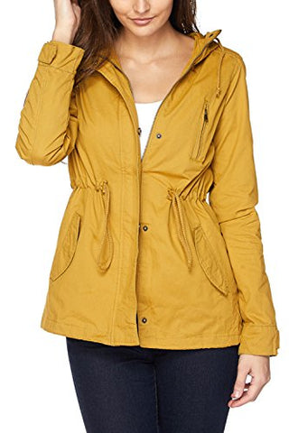 Fashion Boomy Womens Zip Up Military Anorak Jacket W/Hood (LARGE, MUSTARD)
