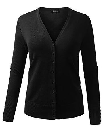 BILY Women's V-Neck Button Down Long Sleeve Classic Knit Cardigan Black Small