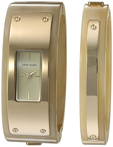Anne Klein Women's AK/2826HNST Gold-Tone and Horn Resin Watch and Bangle Set