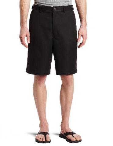 Haggar Men's Cool 18 Gabardine Hidden Expandable Waist Plain Front Short,Black,40