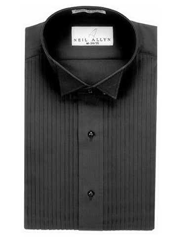 "Neil Allyn Men's Black Wing Collar 1/4"" Pleats Tuxedo Shirt-2XL-32-33"