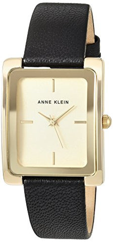 Anne Klein Women's AK/2706CHBK Gold-Tone and Black Leather Strap Watch