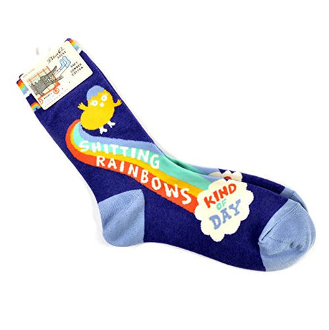 Blue Q Socks, Women's Crew, Shitting Rainbows Kind of Day, Womens Shoe Size 5-10