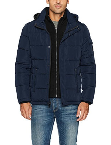 Calvin Klein Men's Alternative Down Puffer Jacket with Bib and Hood, Rich Indigo, XX-Large