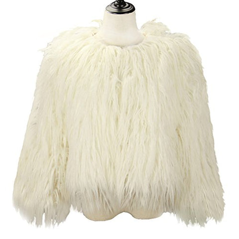 Dikoaina Women's Solid Color Shaggy Faux Fur Coat Jacket (US6, White)