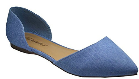 Breckelles Dolley-52 Womens Pointy Toe Slip On (9 B(M) US, Blue Denim-52)