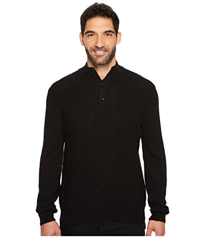 Perry Ellis Men's Solid Textured Mock Neck Sweater, Black, Extra Extra Large