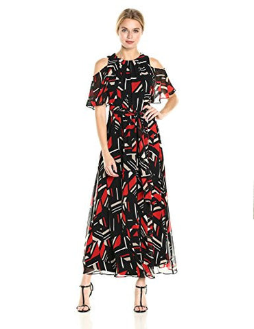 Calvin Klein Women's Printed Cold Shoulder Maxi Dress with Tie Belt, Black/Latte Combo, 8