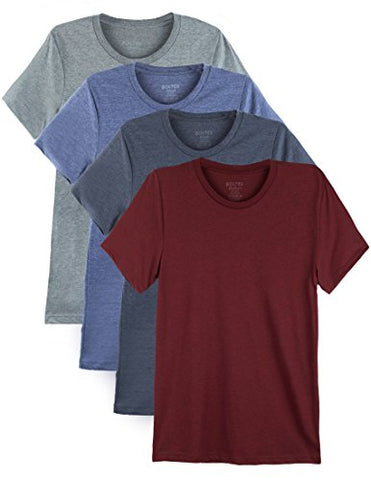 4 Pack Bolter Men's Everyday Cotton Blend Short Sleeve T-shirt (Small, H.Car/H.Roy/H.Nvy/H.Slt)