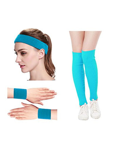Kimberly's Knit Women 80s Neon Pink Running Headband Wristbands Leg Warmers Set (Free, LakeBlue)
