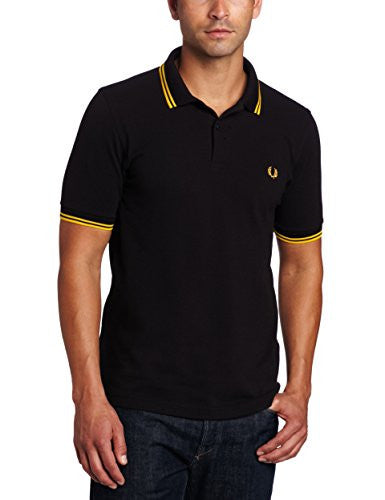 2bf54576 Fred Perry Men's Twin Tipped Polo Shirt-M3600, Black/Yellow/Yellow ...