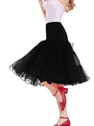"Vianla Women's 50s Vintage Rockabilly Petticoat,26"" Length Net Underskirt Black XL"
