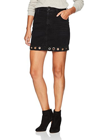 Guess Women's High Waist Skirt with Grommets, Washed Black, X-Small