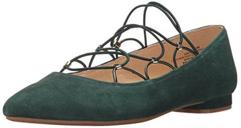 Nine West Women's Opendador Suede Ballet Flat, Green/Multi Suede, 6 M US