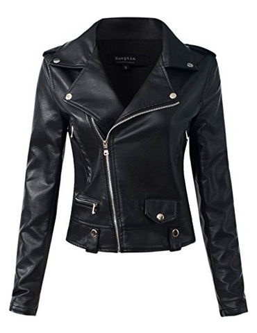 Sungtin Women's Black Faux Leather Motorcycle Biker Short Jacket Coat Small PY5