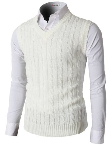 H2H Mens Casual Knitted Slim Fit V-neck Vest With Twisted Patterned IVORY US 3XL/Asia 4XL (KMOV037)