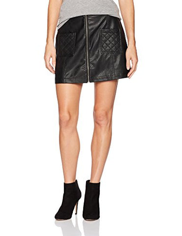 Jack by BB Dakota Women's Cohen Quilted Pocked Pu Skirt, Black, 4