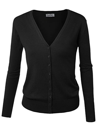 BIADANI Women Button Down Long Sleeve Soft V-Neck Cardigan Sweater Black Large