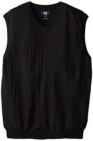 Cutter & Buck Men's Big-Tall Douglas V-Neck Sweater Vest, Black, 4X/Tall