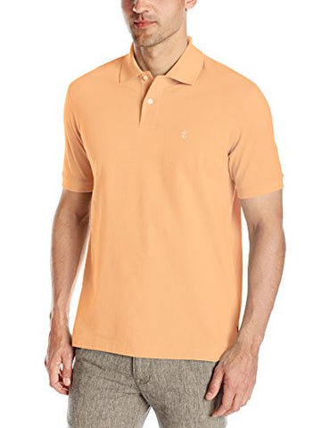 IZOD Men's Heritage Solid Pique Polo, Deep Shell Coral, Small