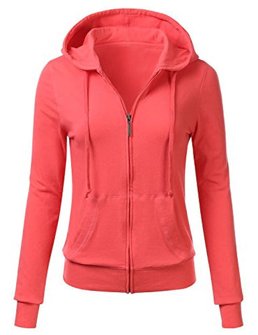 FLORIA Women Casual Basic Solid Knit Stretch Lightweight Zip Up Hooded Jacket CORAL 1XL