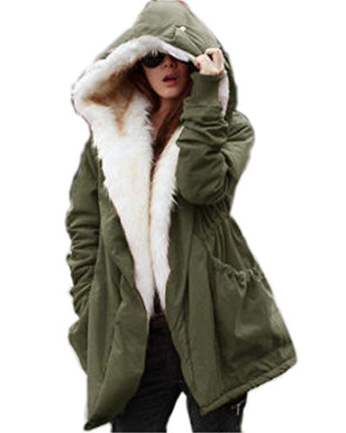 Roiii Women Military Winter Casual Outdoor Coat Hoodie Jacket Long Trench Parkas (XXX-Large / 16, Green)