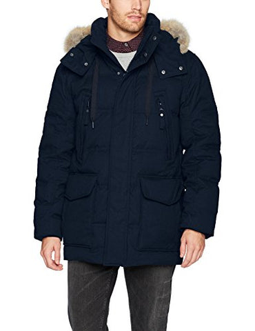 Marc New York by Andrew Marc Men's Dobeln Hooded Herringbone Parka with Removable Coyote Fur, Ink, X-Large